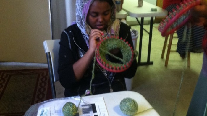 Knitting project at Sunnyvale Community Center